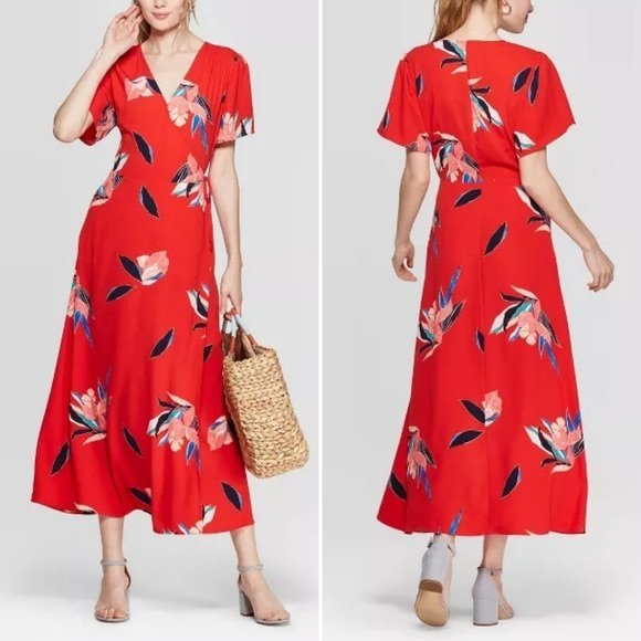Red floral day dress
